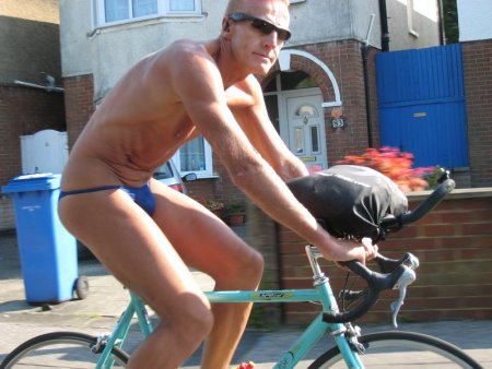 near naked cyclist